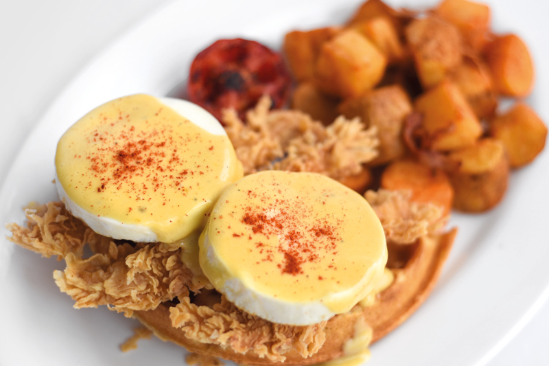 FRIED CHICKEN & WAFFLES BENEDICT